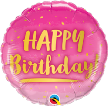 "Birthday Gold & Pink Foil Balloon (18"") 1pc"